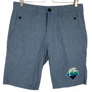 Pink Dolphin Shorts Zip Up Heather Blue Summer
